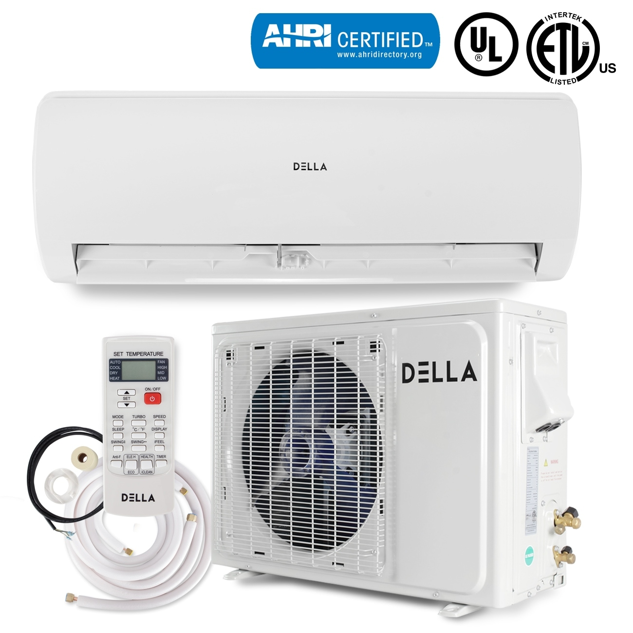 Shop DELLA 12000 BTU Ductless Air Conditioning System 17 SEER Wallmount  Heat Pump Mini Split Unit 230V - Free Shipping Today - Overstock.com -  22693456