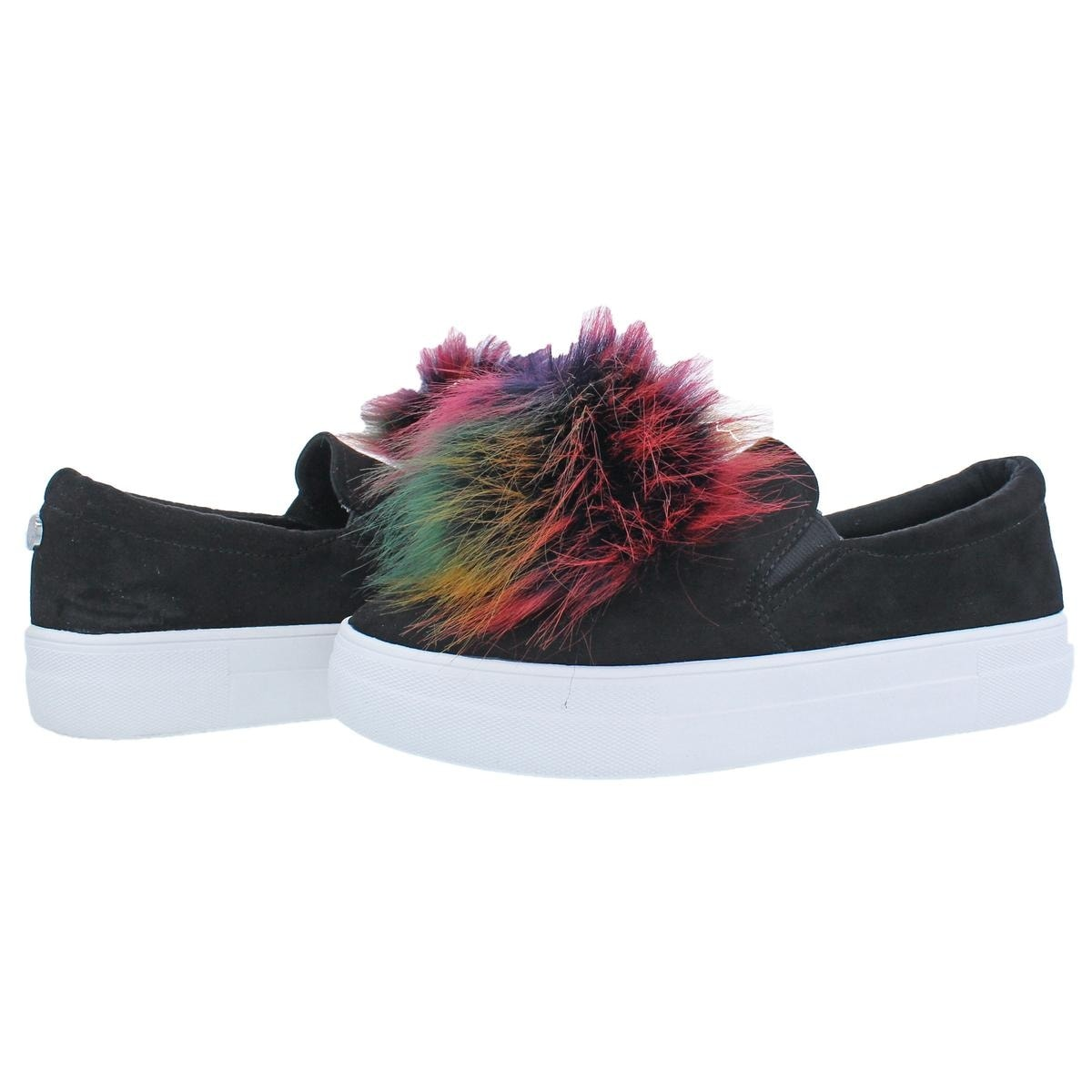 6ed8915bf96 Steve Madden Womens Great Fashion Sneakers Faux Fur Pom Pom