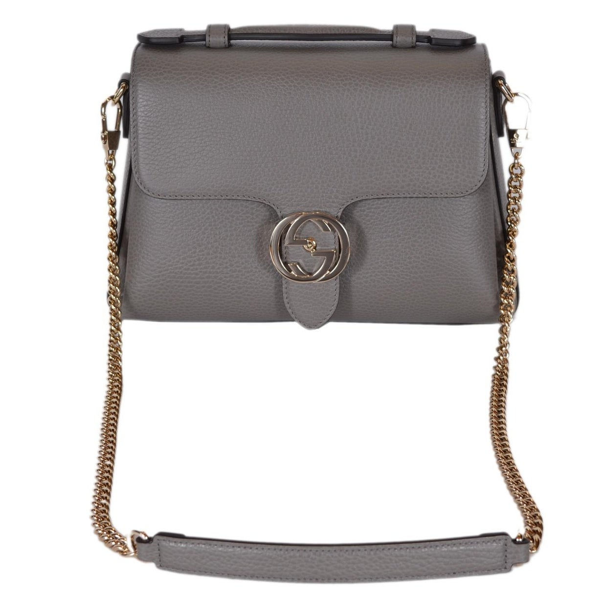 375a4e9ff9 Shop Gucci 510302 Grey Leather Interlocking GG Clasp Convertible Purse  Handbag - Free Shipping Today - Overstock - 22085872