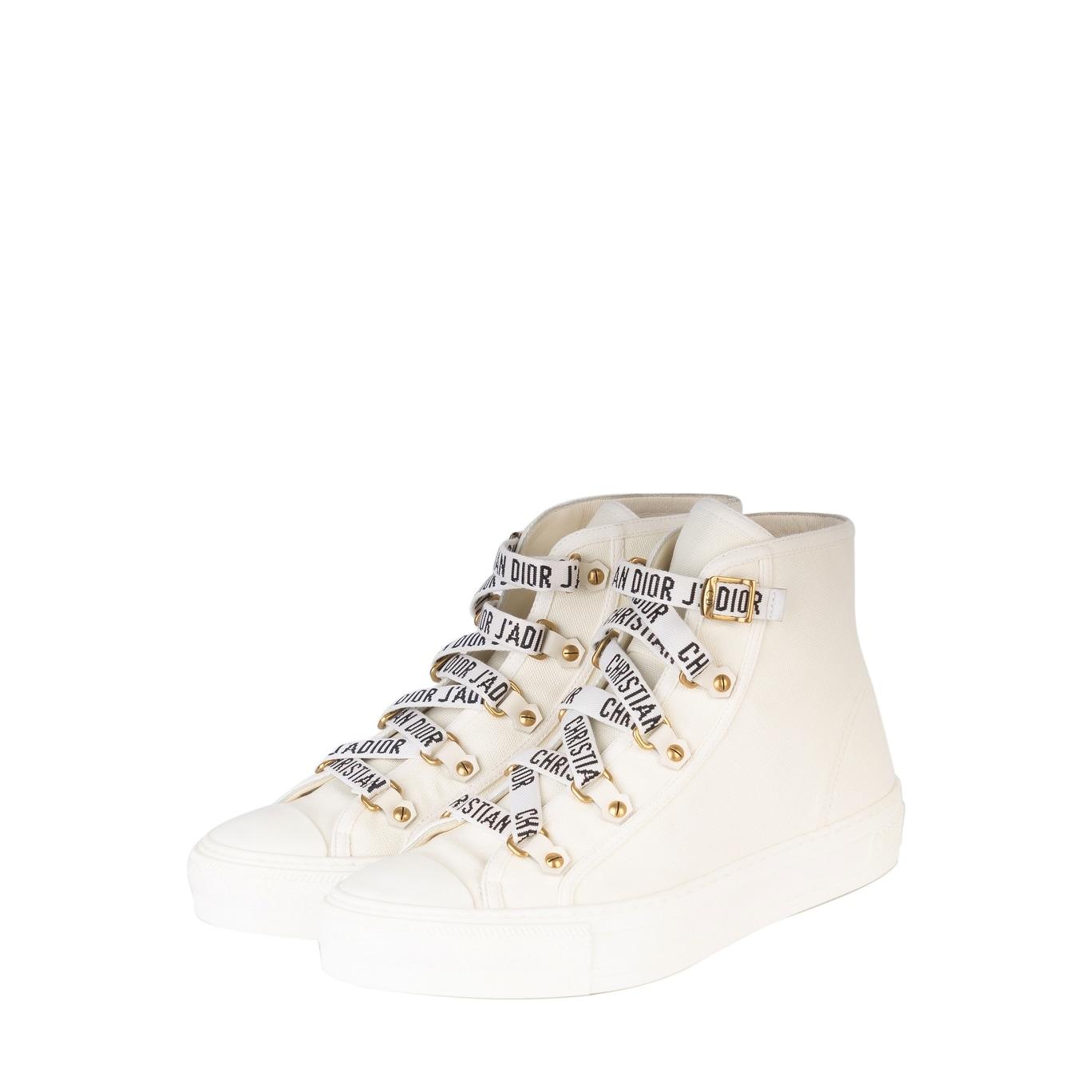 0f560490 Dior Womens White Canvas Walk'N'Dior High Top Sneakers