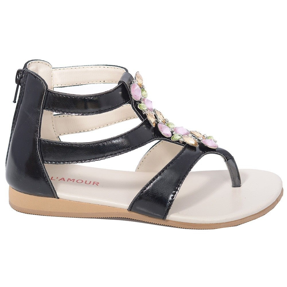 2a3cd0e48656f3 Shop L Amour Black Jeweled Gladiator T Strap Sandal Toddler Girl 7-10 -  Free Shipping Today - Overstock.com - 23088126