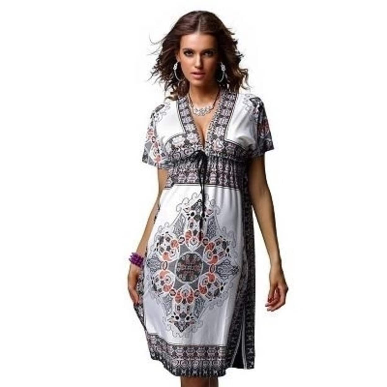 2fcebad707 2018 Boho Style Summer Women Dress Hot Sundresses Deep V Floral Print Tunic  Beach Dresses Plus Size Casual Silk Dresses