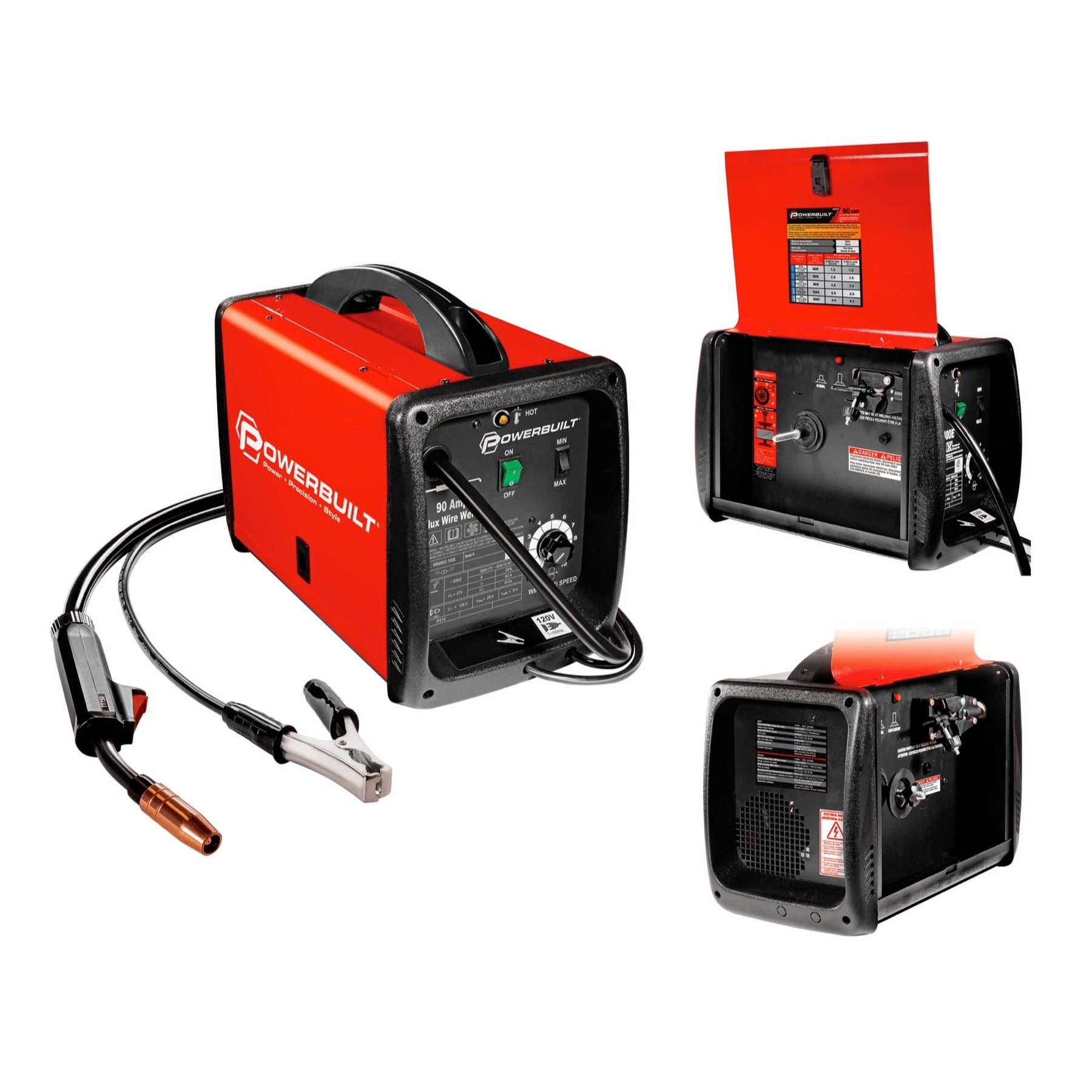 Powerbuilt Mig 90 Amp Flux Core Wire Feed Welder Compact - 240032 ...
