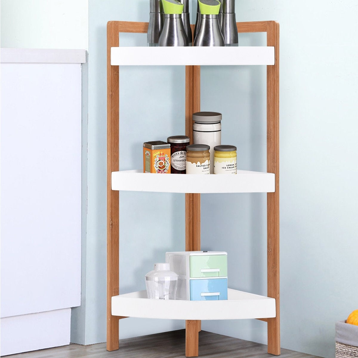 Shop Gymax 3 Tier Corner Shelf Tower Storage Wood Rack Stand ...