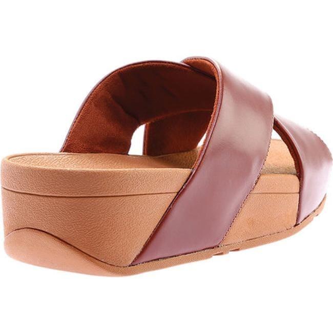 c7644e6db371d Shop FitFlop Women s Lulu Crisscross Slide Cognac Leather - Free Shipping  Today - Overstock.com - 21727218