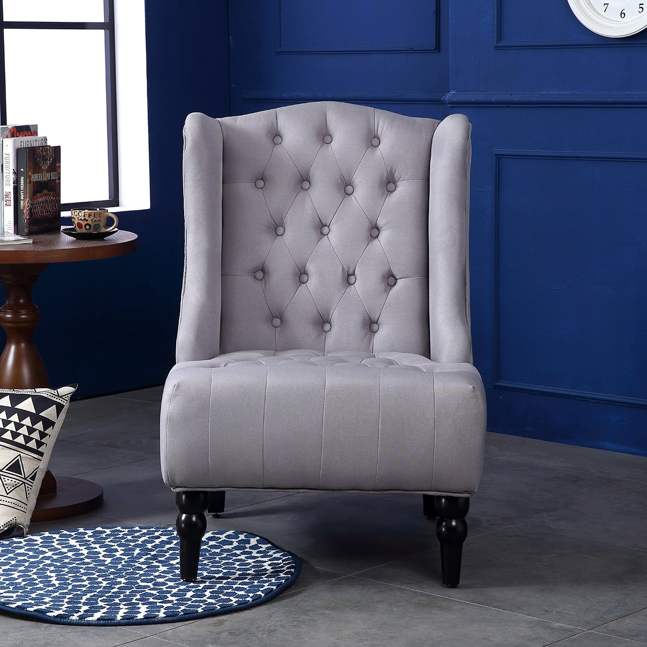 Belleze Modern Wingback Tufted NailHead Accent Chair Linen Tall Back