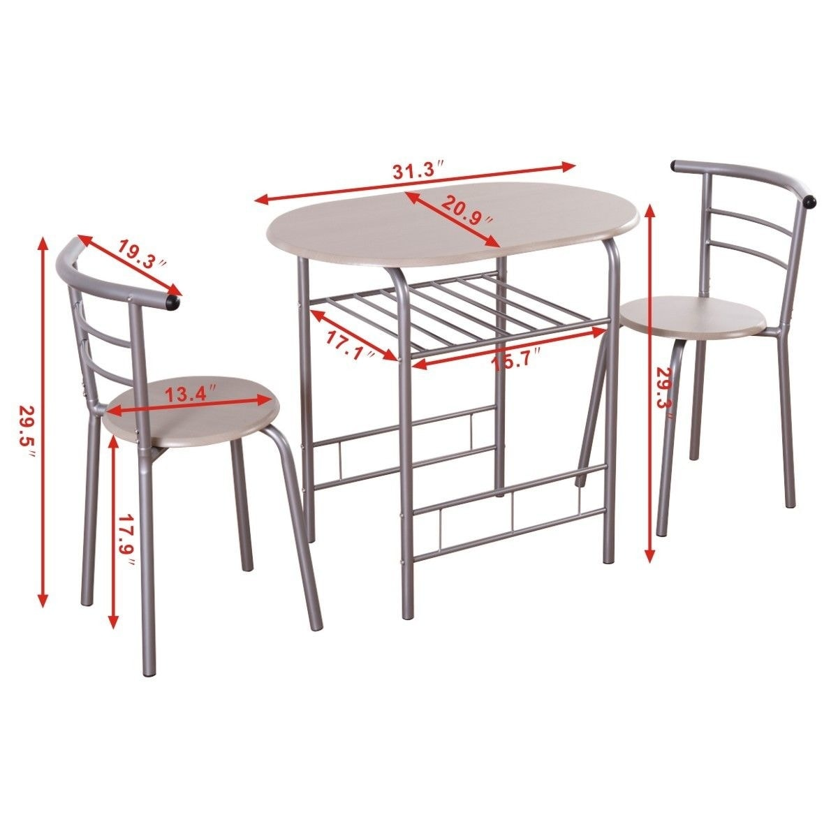 15f27afb7 Shop Costway 3 Piece Dining Set Table 2 Chairs Bistro Pub Home Kitchen  Breakfast Furniture - as pic - On Sale - Free Shipping Today - Overstock -  16689622