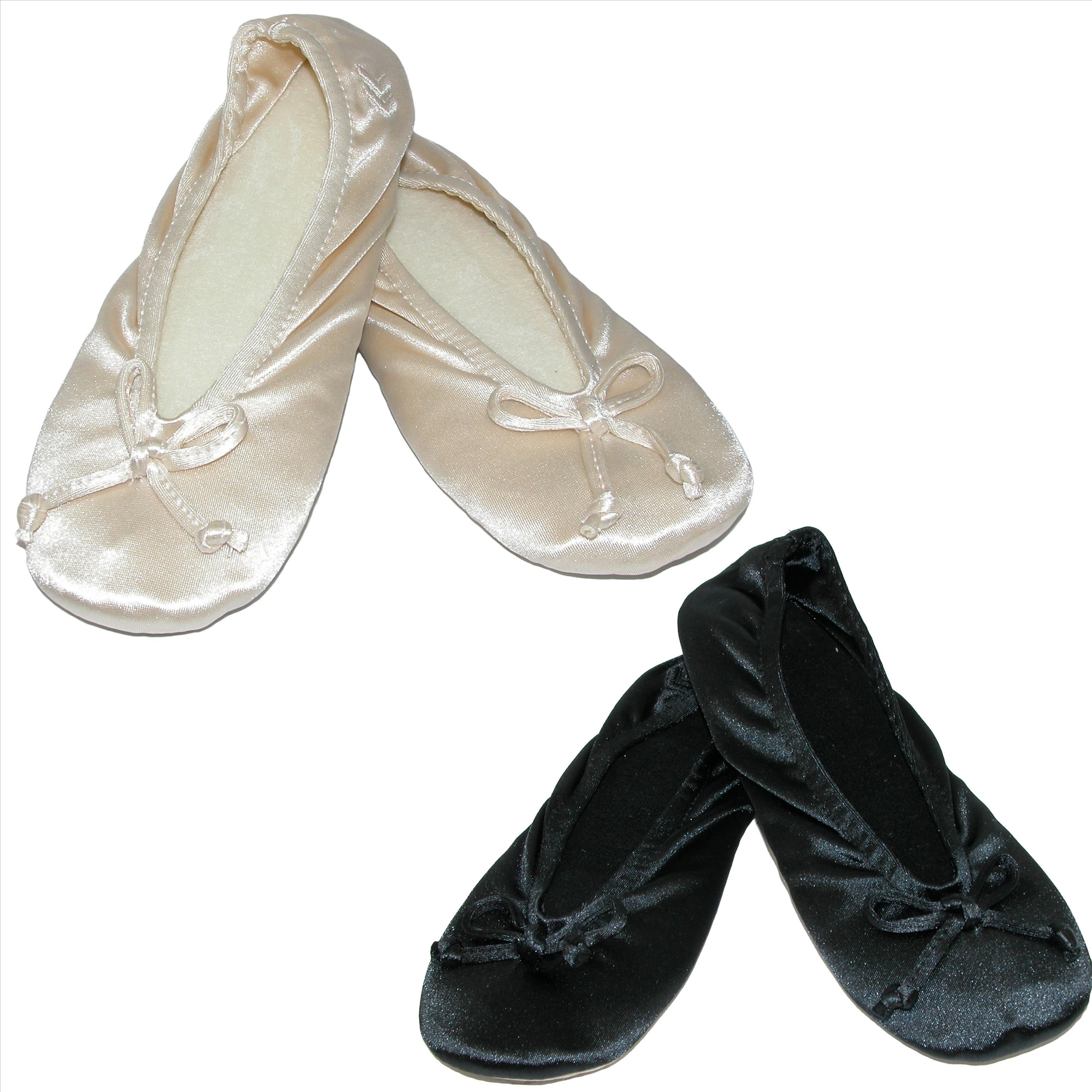 1f16d29db50 Shop Isotoner Women s Satin Plus Size Ballerina Slippers (Pack of 2 ...