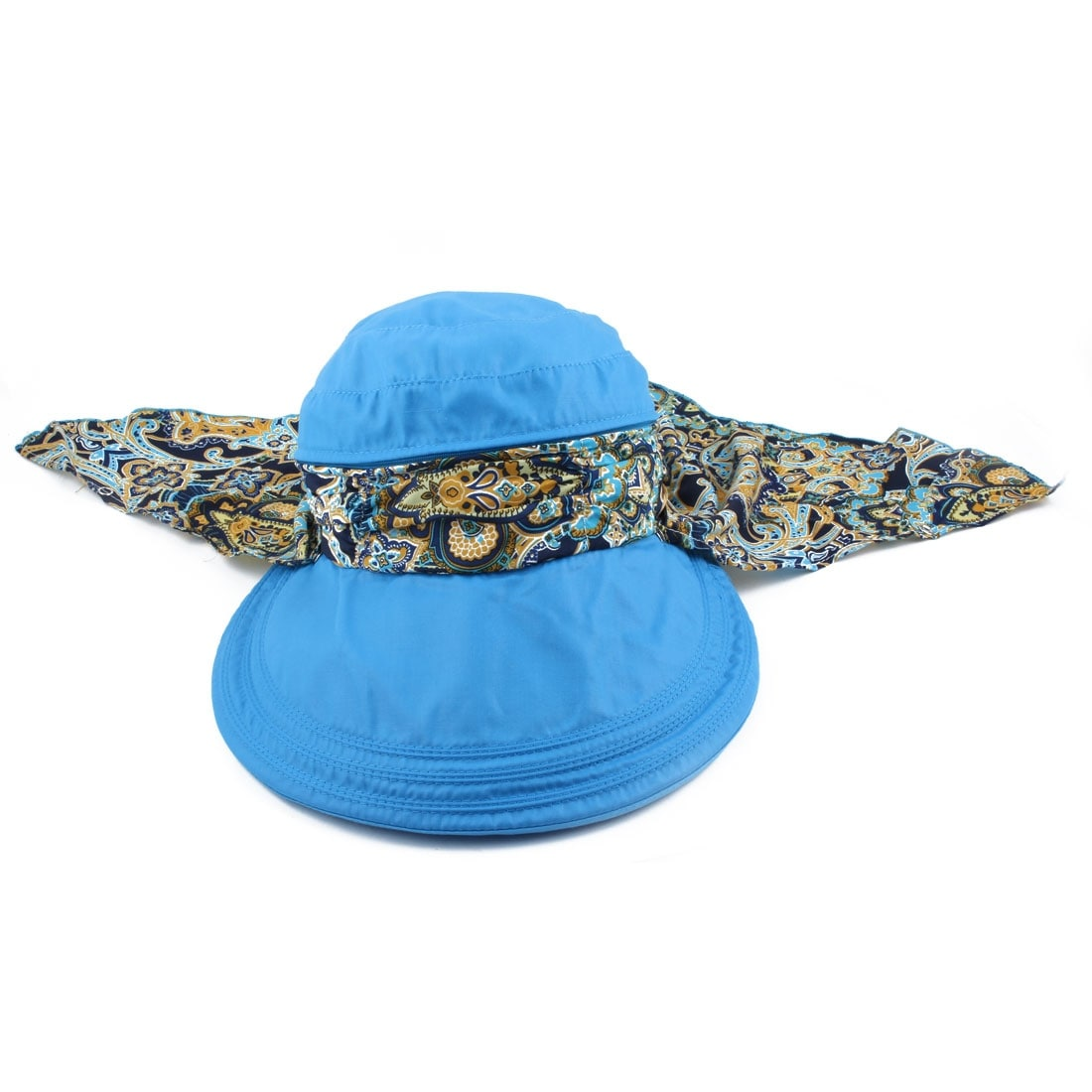 Ladies Cotton Blends Adjustable Floppy Wide Brim Summer Sun Cap Beach Hat  Blue 132b07cdff2f
