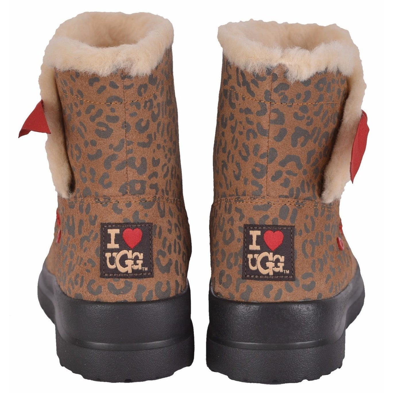07957b62d0f UGG Women's I Heart Knotty Leopard Print Shearling Wool Snow Boots Shoes