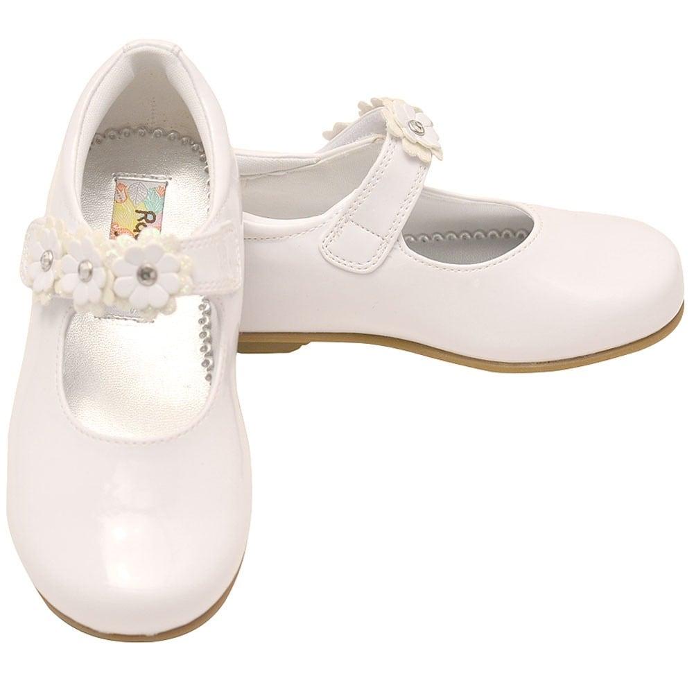 e726fe07f32b Shop Rachel Little Girls White Glitter Center Flower Mary Jane Shoes - Free  Shipping On Orders Over  45 - Overstock - 23086605