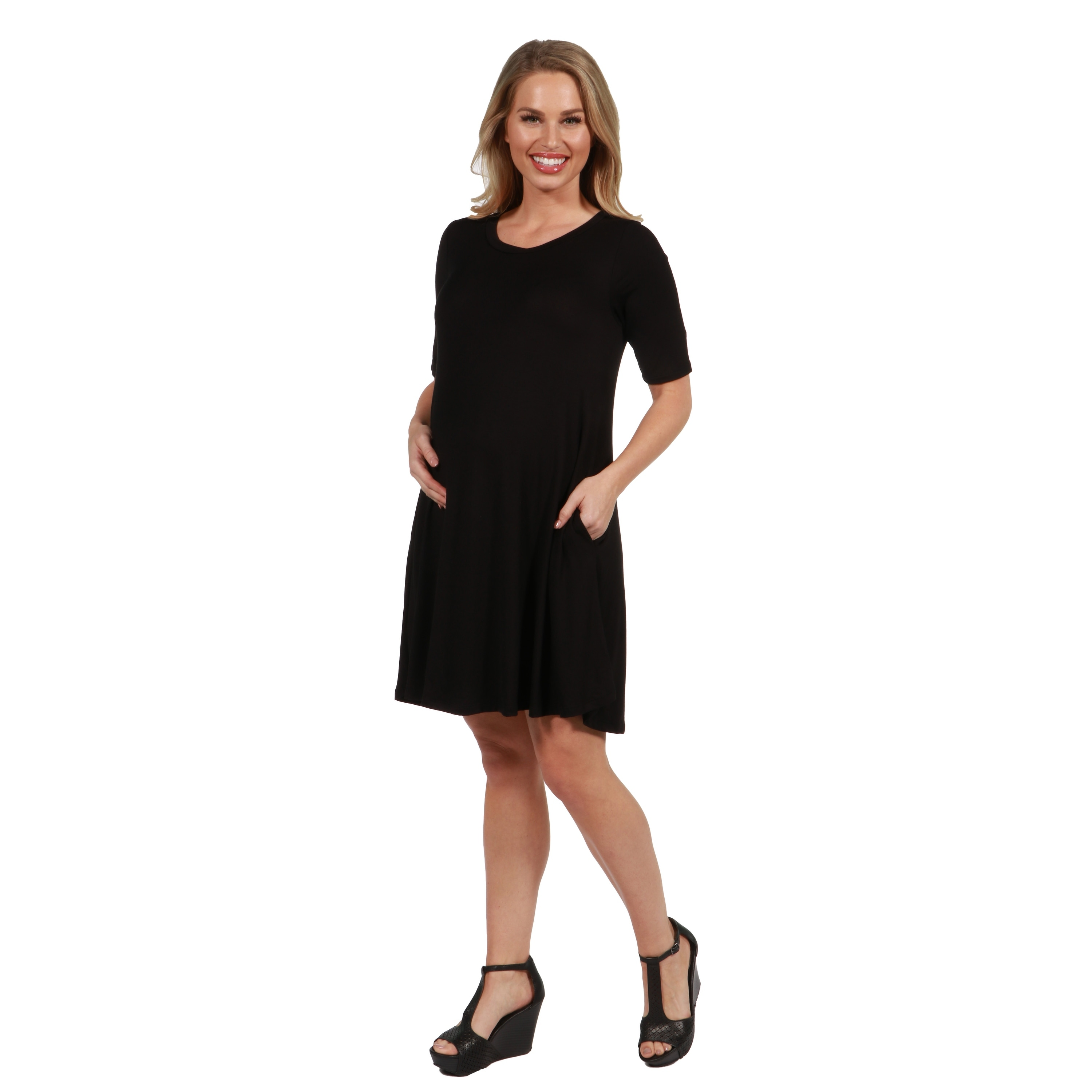 3b3e25a9601 Shop 24Seven Comfort Apparel Pocket Maternity Mini Dress - On Sale - Free  Shipping On Orders Over $45 - Overstock - 21177398