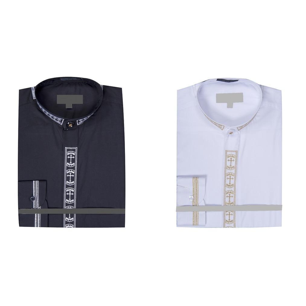 Shop Mens Collarless Banded Collar Dress Shirt With Cross
