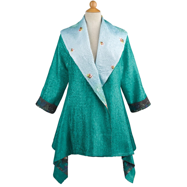 Women S Fl Print Jade Reversible Jacket Jewel Tone Green Open Front