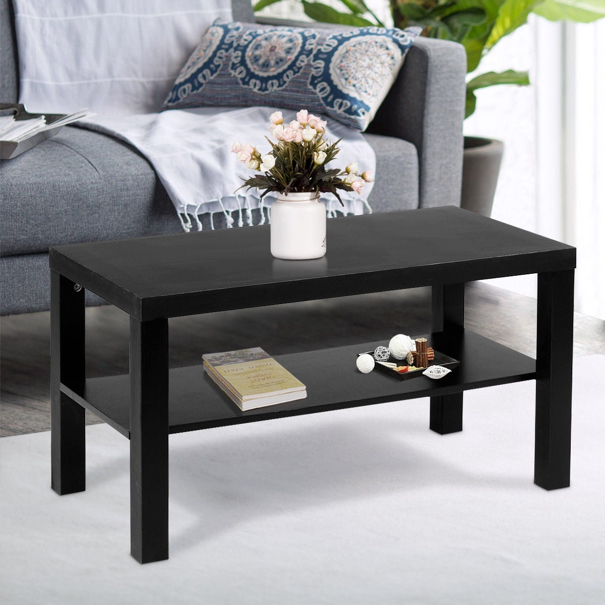 Costway coffee end table rectangle modern living room furniture w storage shelf black