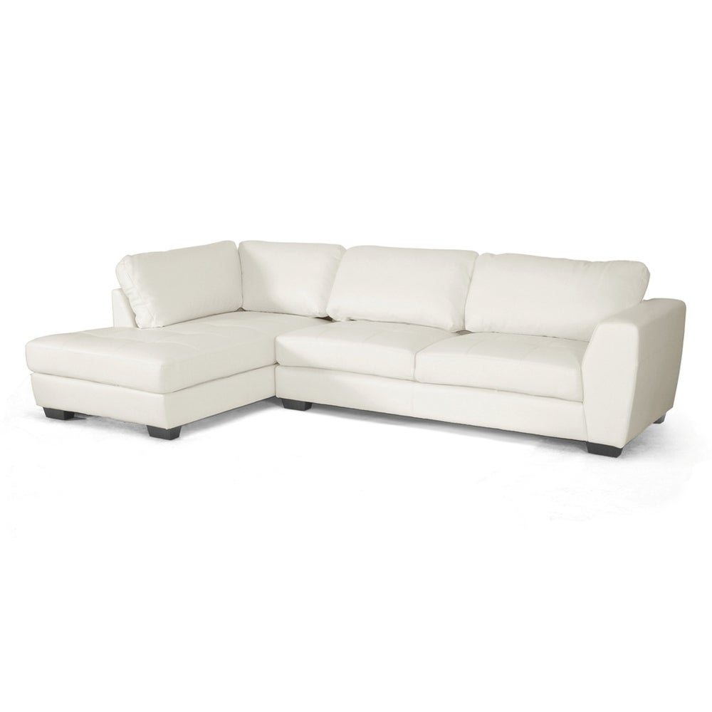 Shop Orland White Bonded Leather Sectional Sofa Set W Left Facing