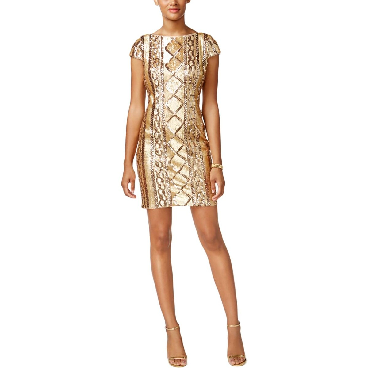 Adrianna Papell Womens Semi Formal Dress Cap Sleeve Sequin Free