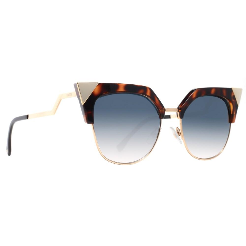 9315c093967f Shop Fendi FF 0149 S TLW G5 Iridia Havana Brown Gold Blue Women s Cat Eye  Sunglasses - havana gold - 54mm-18mm-140mm - Free Shipping Today -  Overstock - ...
