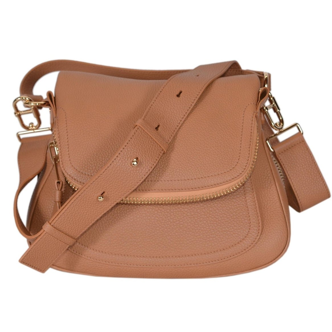 4bf1ece08 Shop Tom Ford Women's Tan Leather JENNIFER Crossbody Saddle Bag Purse -  whiskey beige - 12.7