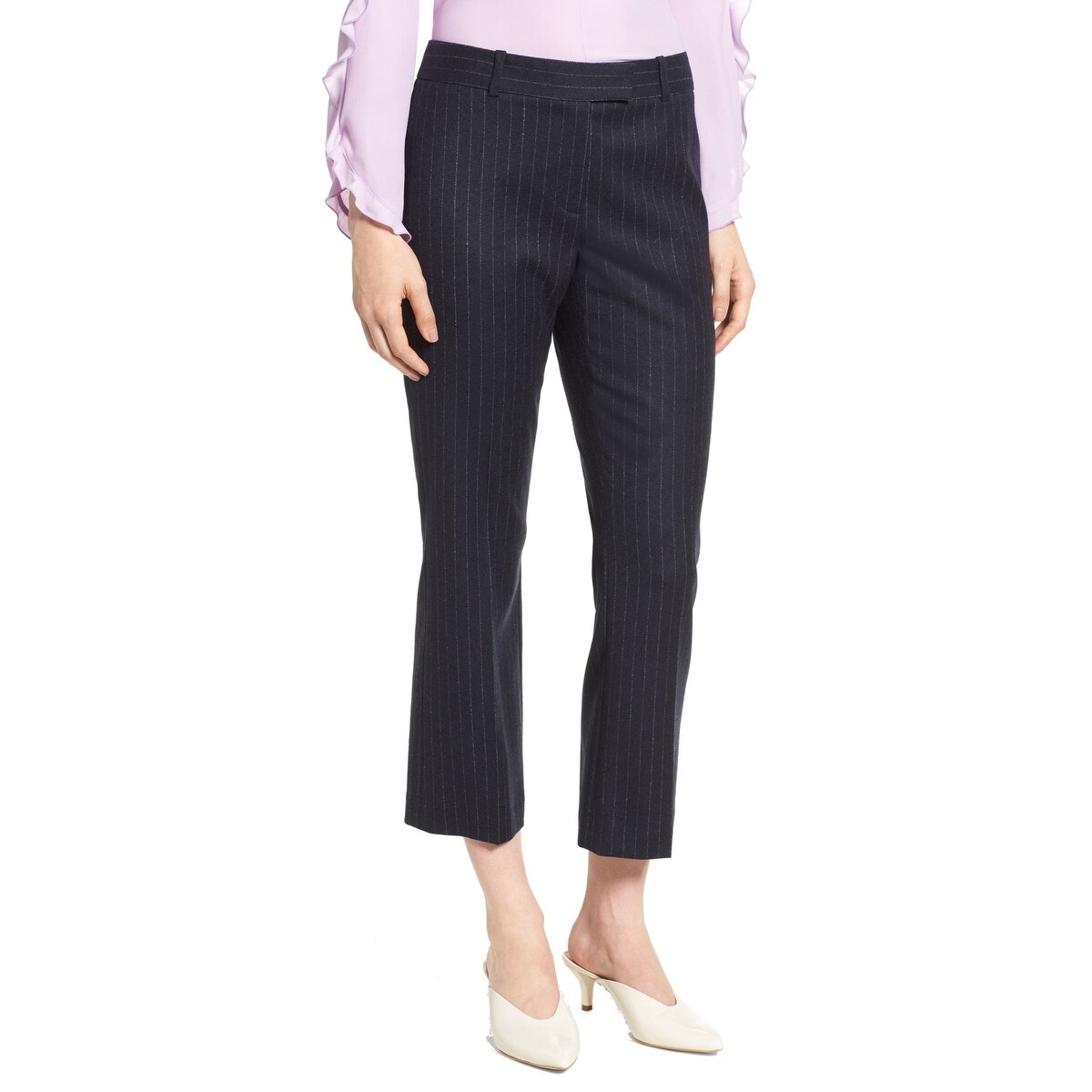 Navy And White Striped Dress Pants