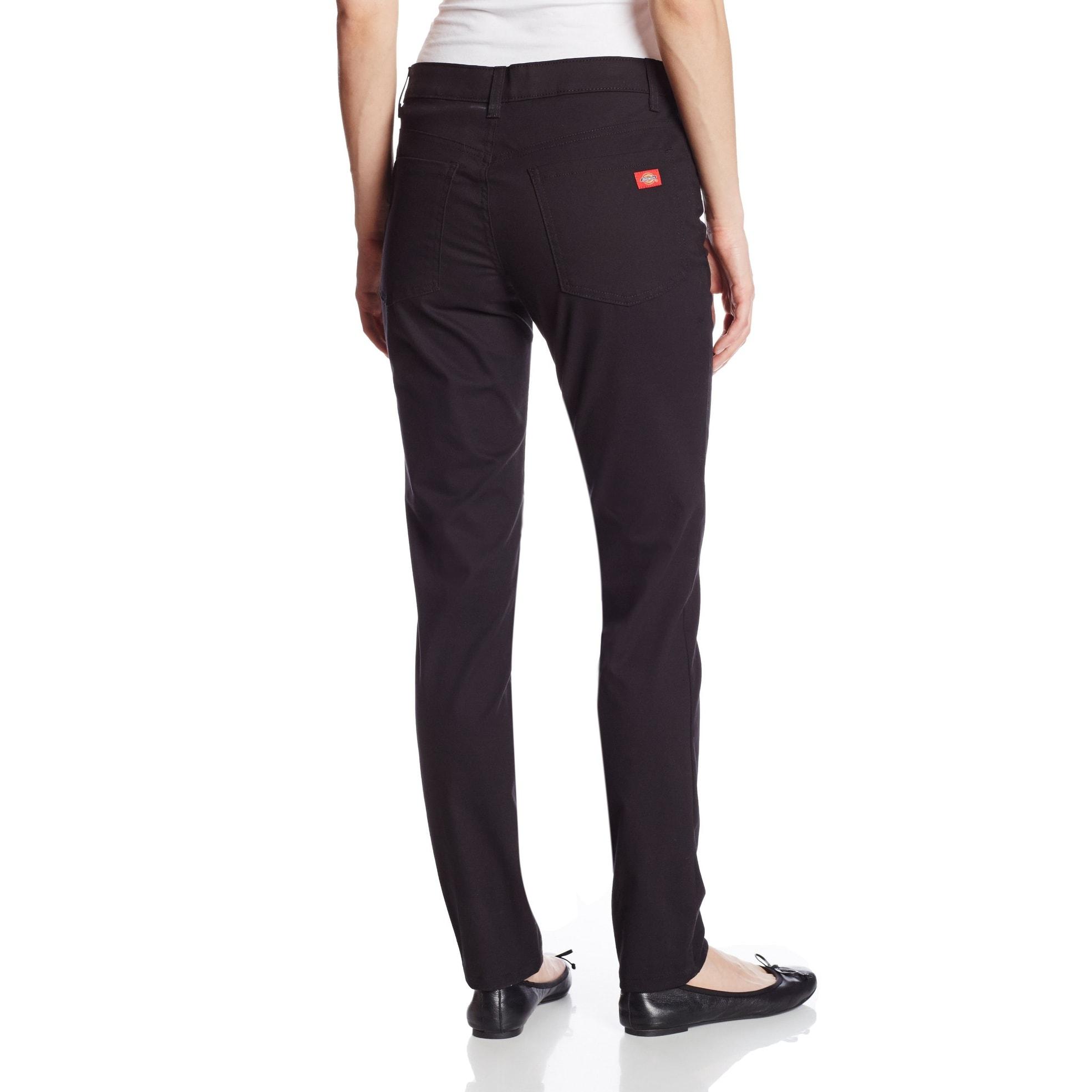 cb10665202e Shop Dickies Black Women s Size 4X30 Slim Fit Skinny Stretch Twill ...