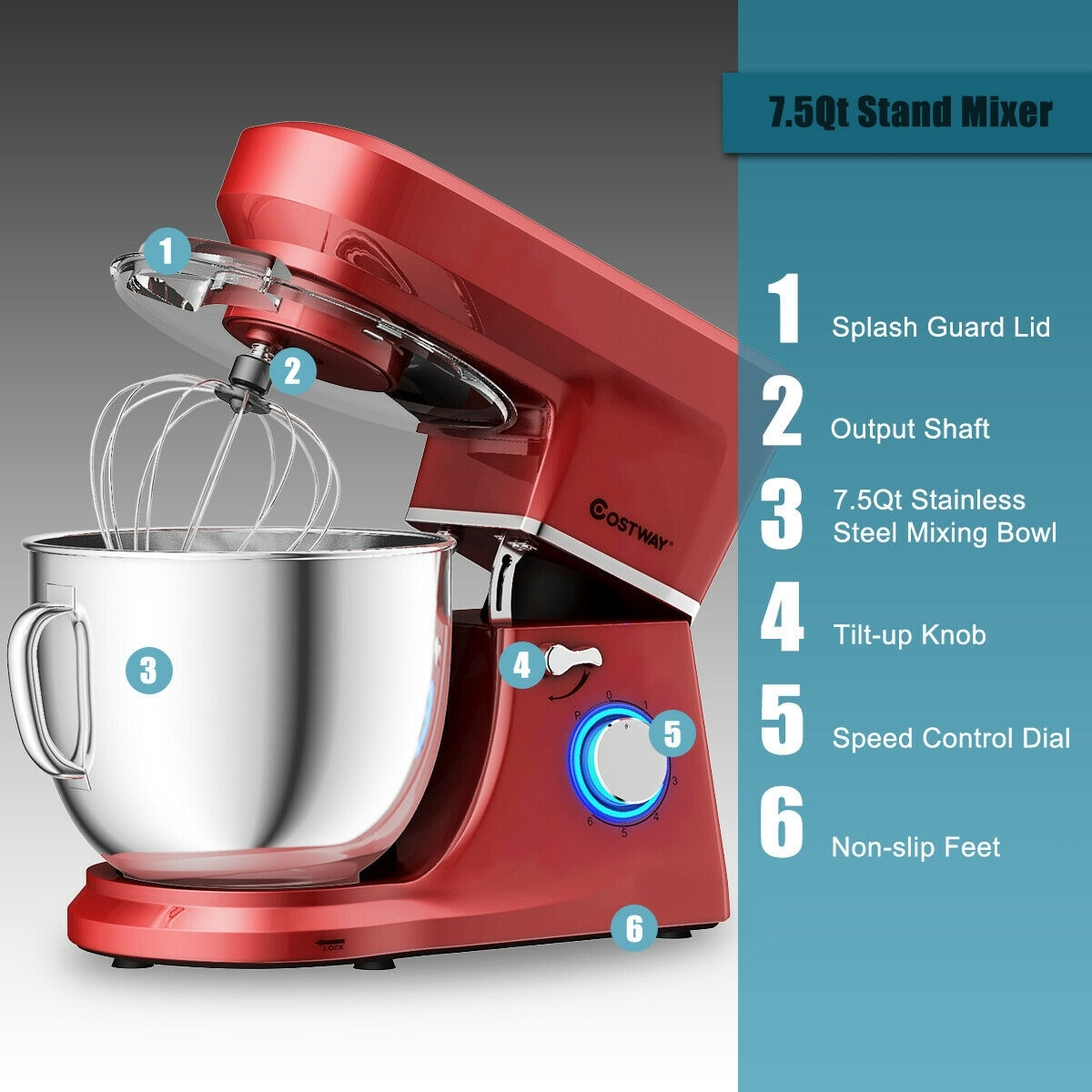 Costway Electric Food Stand Mixer 6 Speed 7 5Qt 660W Tilt-Head Stainless  Steel Bowl