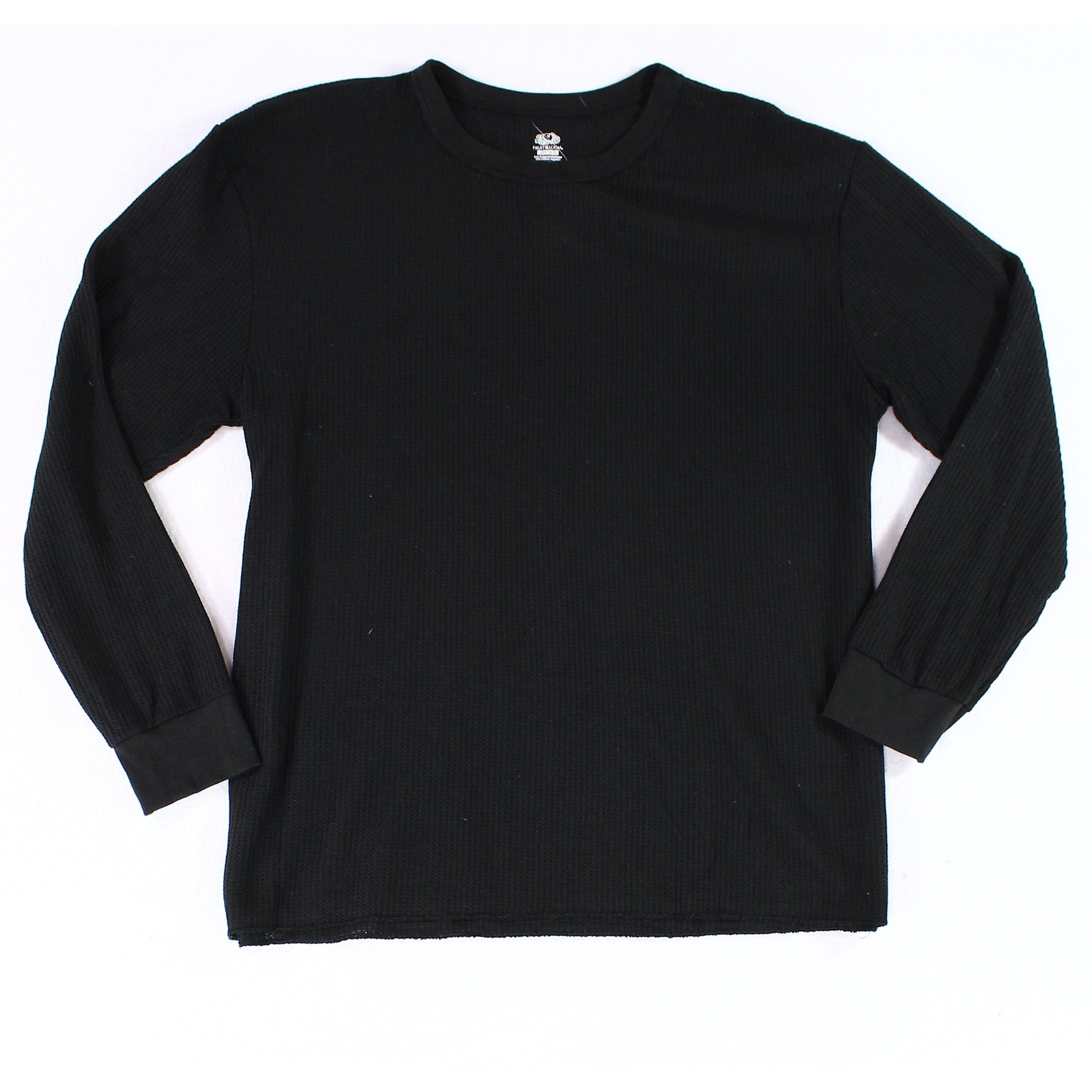 Shop Fruit Of The Loom Black Mens Size 3xl Thermal Crewneck Tee T