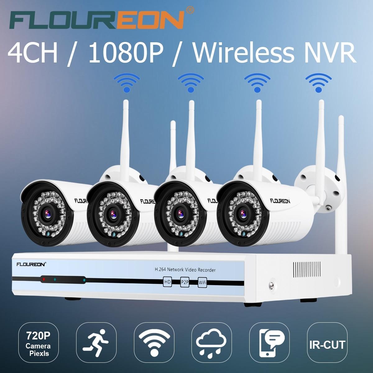 Floureon 4CH Wireless CCTV 1080P DVR Kit Outdoor Wifi WLAN 720P IP Camera  Security Video Recorder NVR System