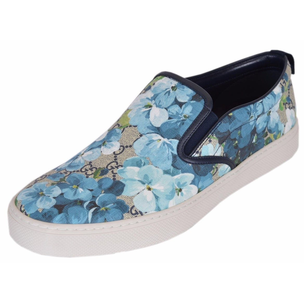 3d39cb4d50f82 Gucci Men s 407362 GG BLOOMS BLUE Coated Canvas Slip On Sneakers Shoes  12.5G 13.5US