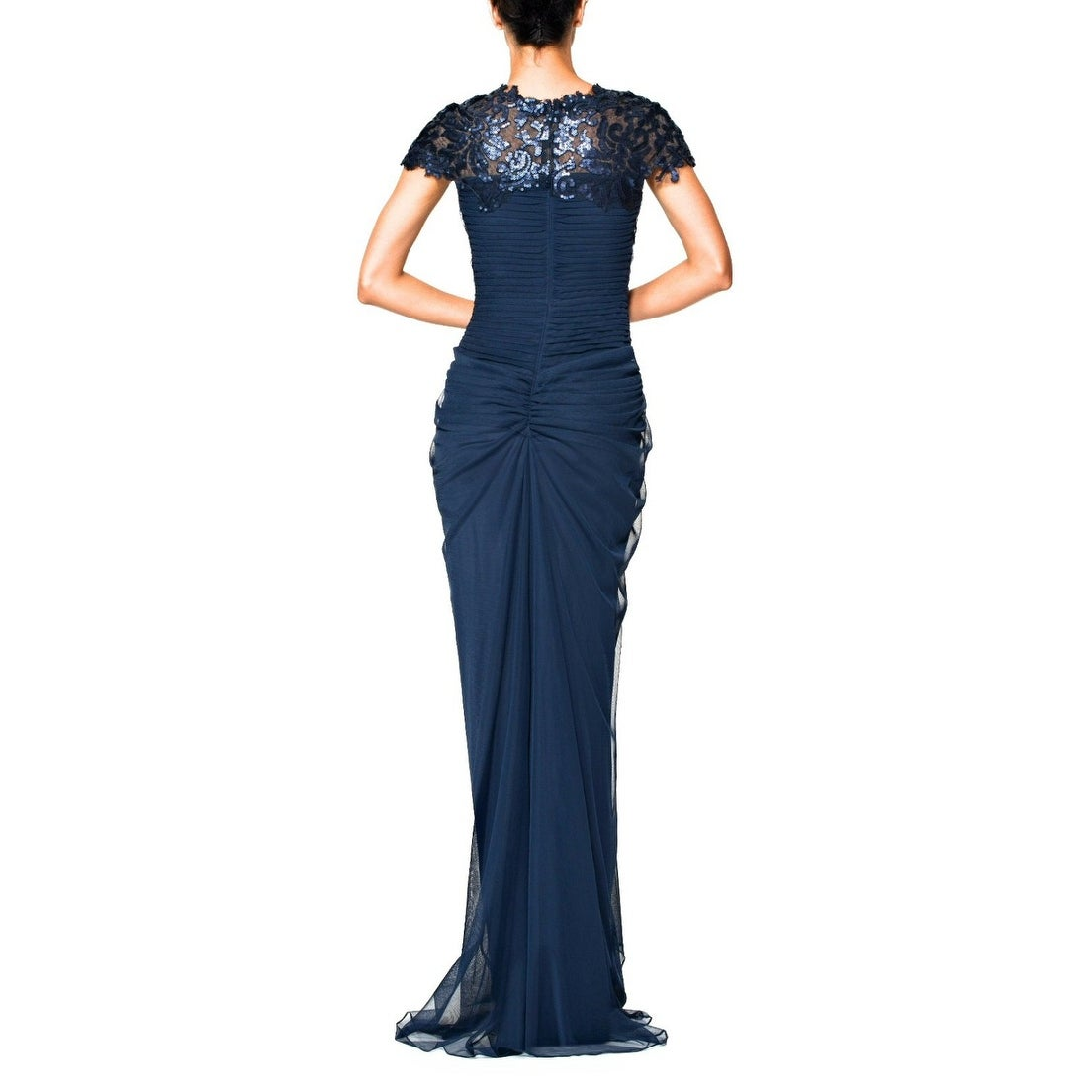 Shop Tadashi Shoji Sequined Lace Draped Tulle Evening Gown Dress ...