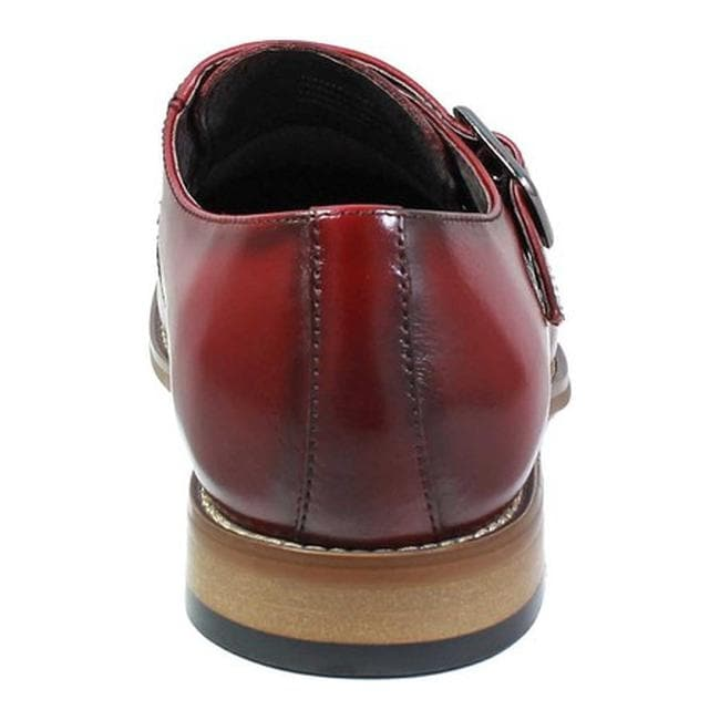 58d91742c4a Shop Stacy Adams Men s Desmond Cap Toe Monk Strap 25162 Cranberry Smooth  Leather - Free Shipping Today - Overstock - 19437822