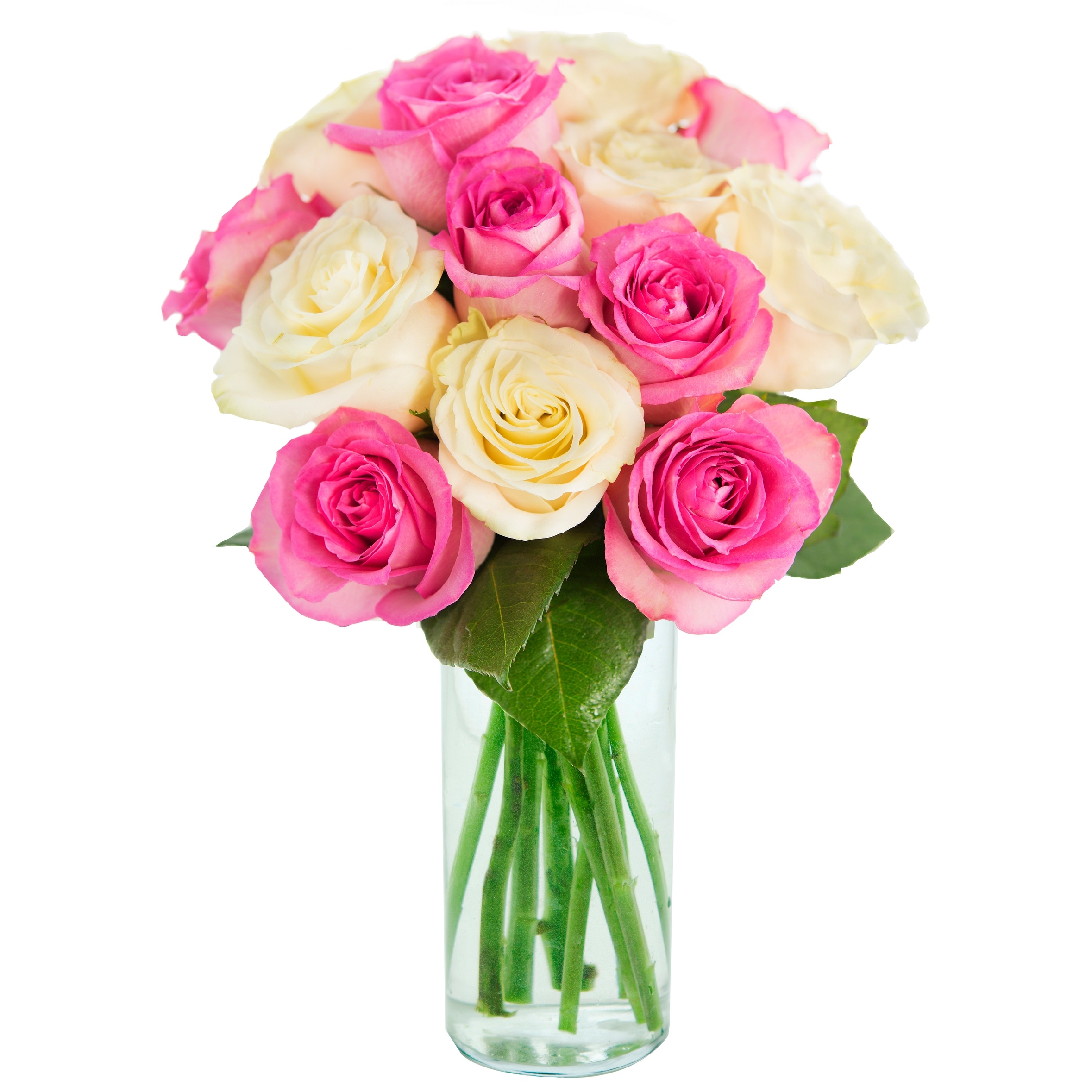 Kabloom Mothers Day Special Bouquet Of 12 Pink And White Roses
