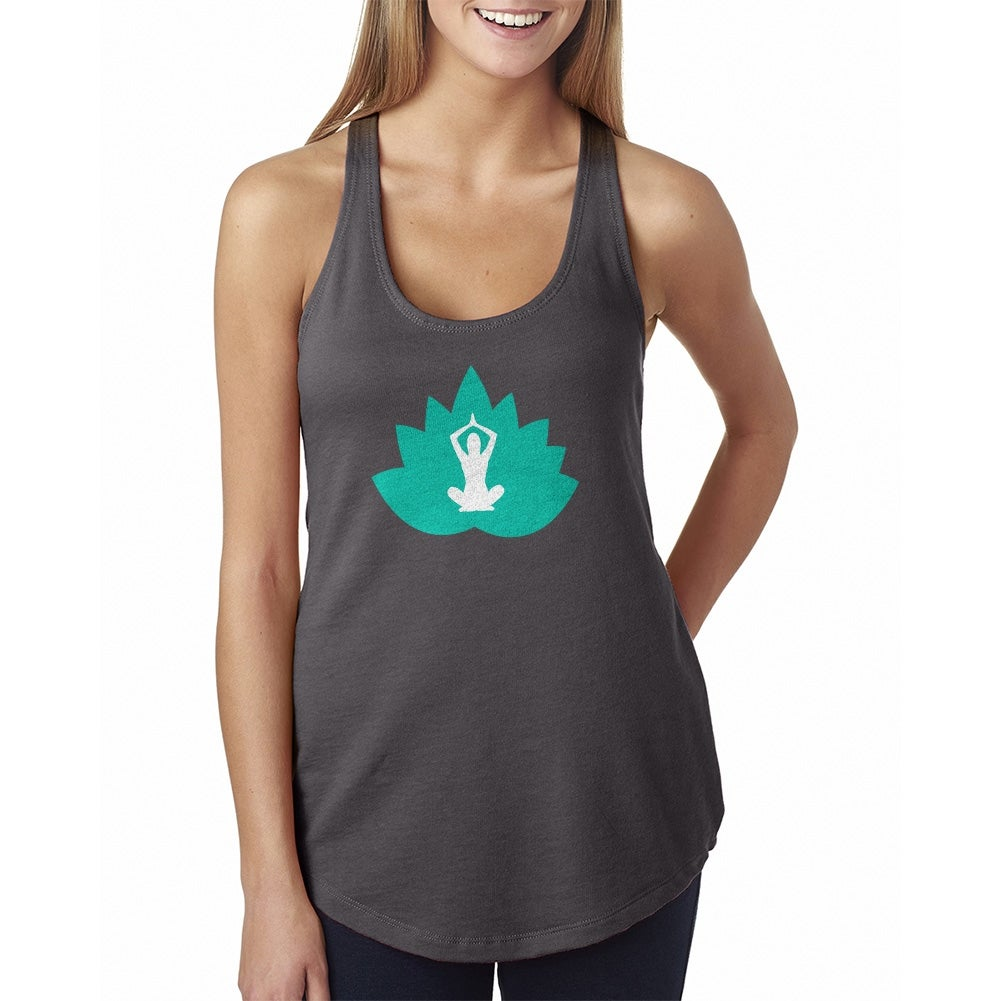 Lotus Flower And Lotus Pose Silhouette Inside Womens Yoga Tank
