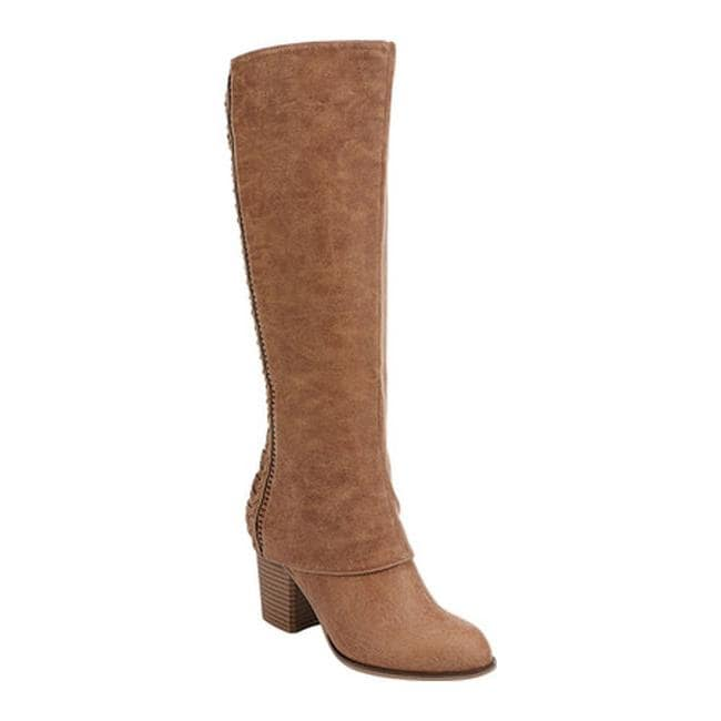 a20a0606624 Shop Fergalicious Women s Tender Knee High Boot Tan Oiled Fabric ...