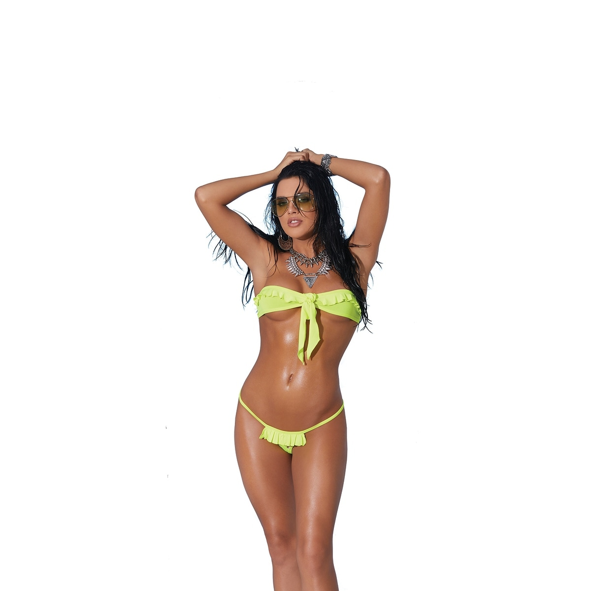 874f5f976 Lycra bandeau top and matching g-string with ruffle trim - Color -  Chartreuse - Size - One Size