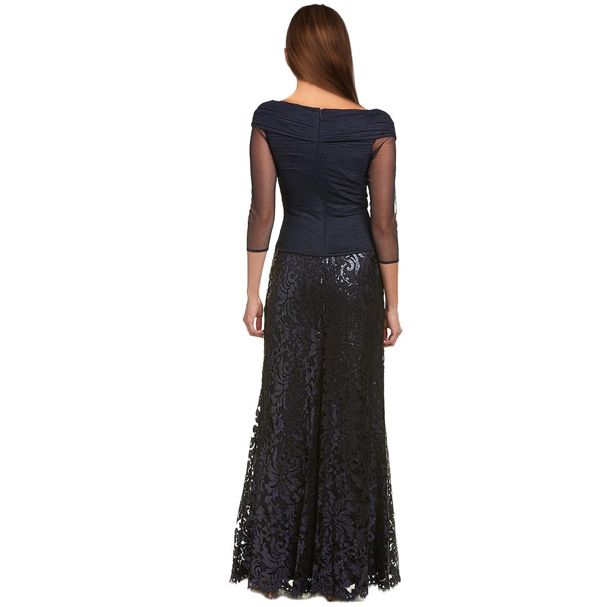 Shop Tadashi Shoji Petite Sequined Woven 3/4 Sleeve Evening Gown ...