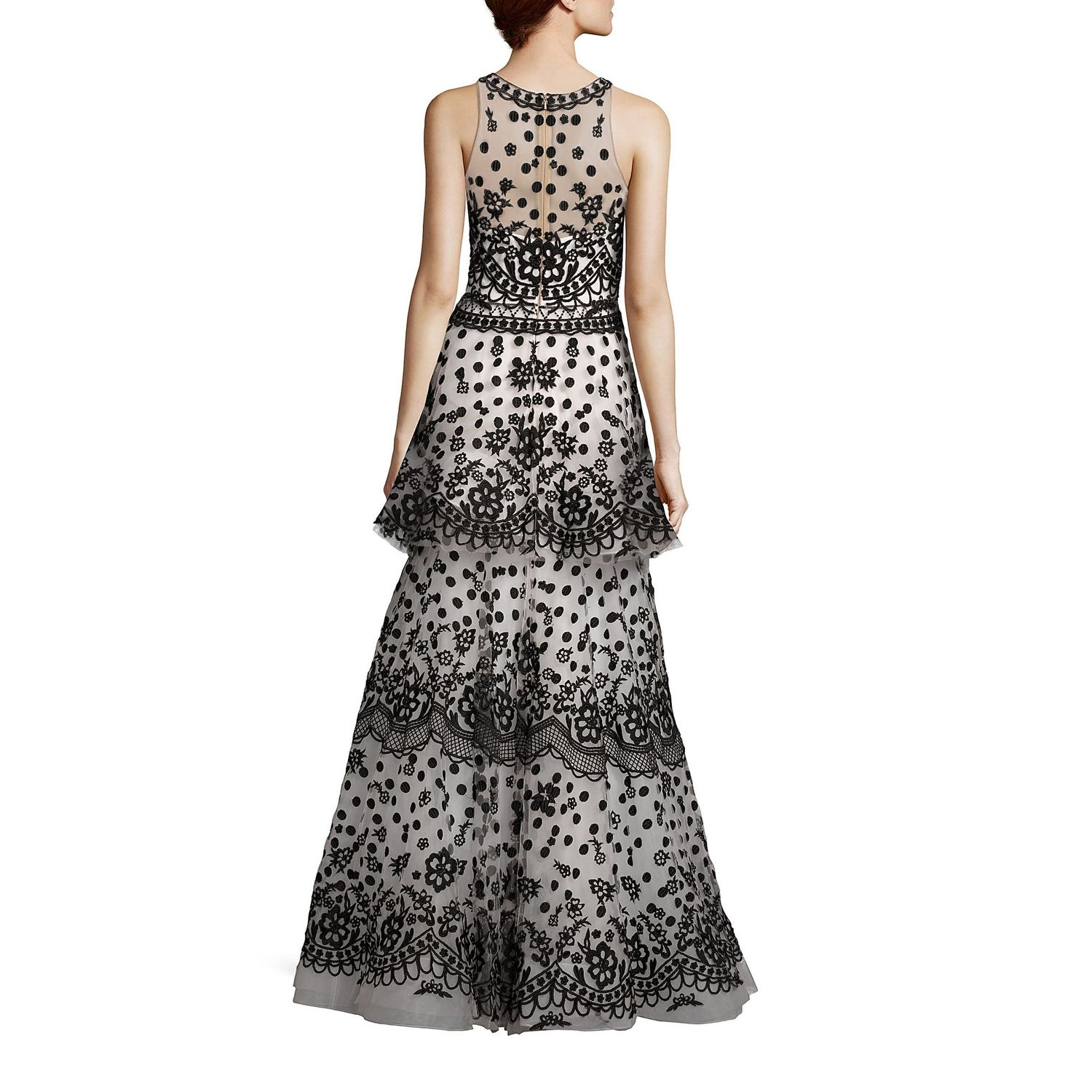 26a9420aaa22d Shop Marchesa Notte Tiered Embroidered Sleeveless Tulle Ball Evening Gown  Dress Black/White - 10 - Free Shipping Today - Overstock - 25614043