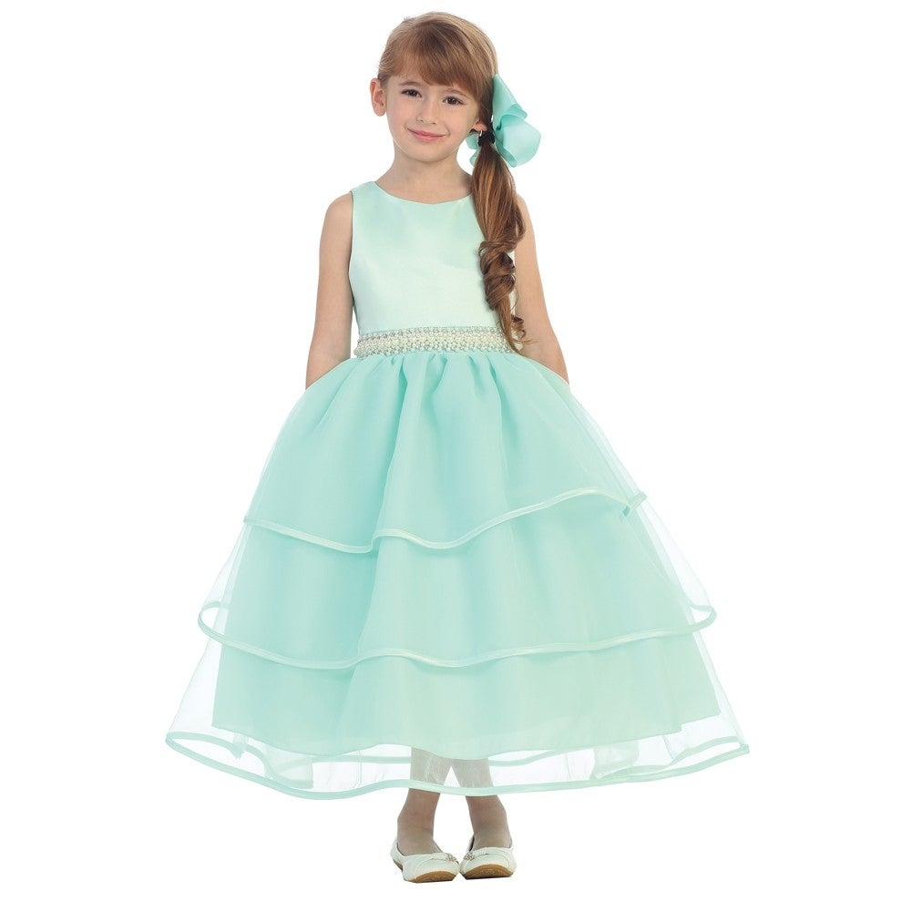Shop Chic Baby Girls Mint Green Organza Pearl Sash Flower Girl Dress ...