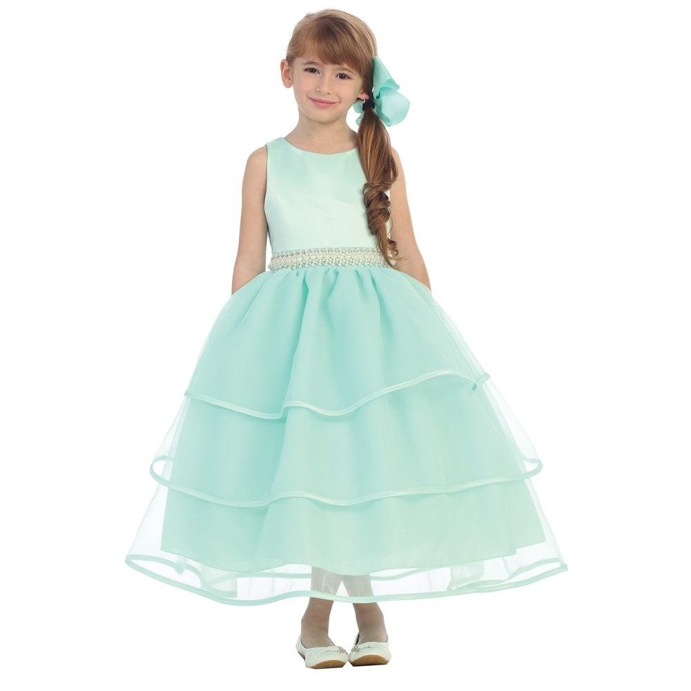 Chic Baby Girls Mint Green Organza Pearl Sash Flower Girl Dress 8-12 ...