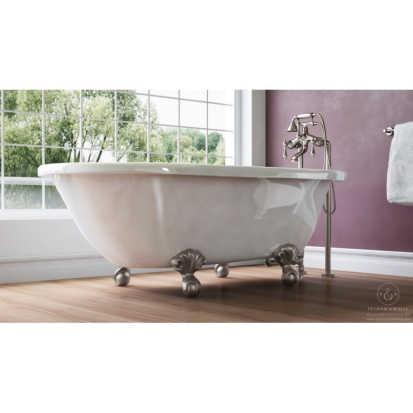 Pelham & White Luxury 54 Inch Clawfoot Tub with Nickel Ball and Claw ...