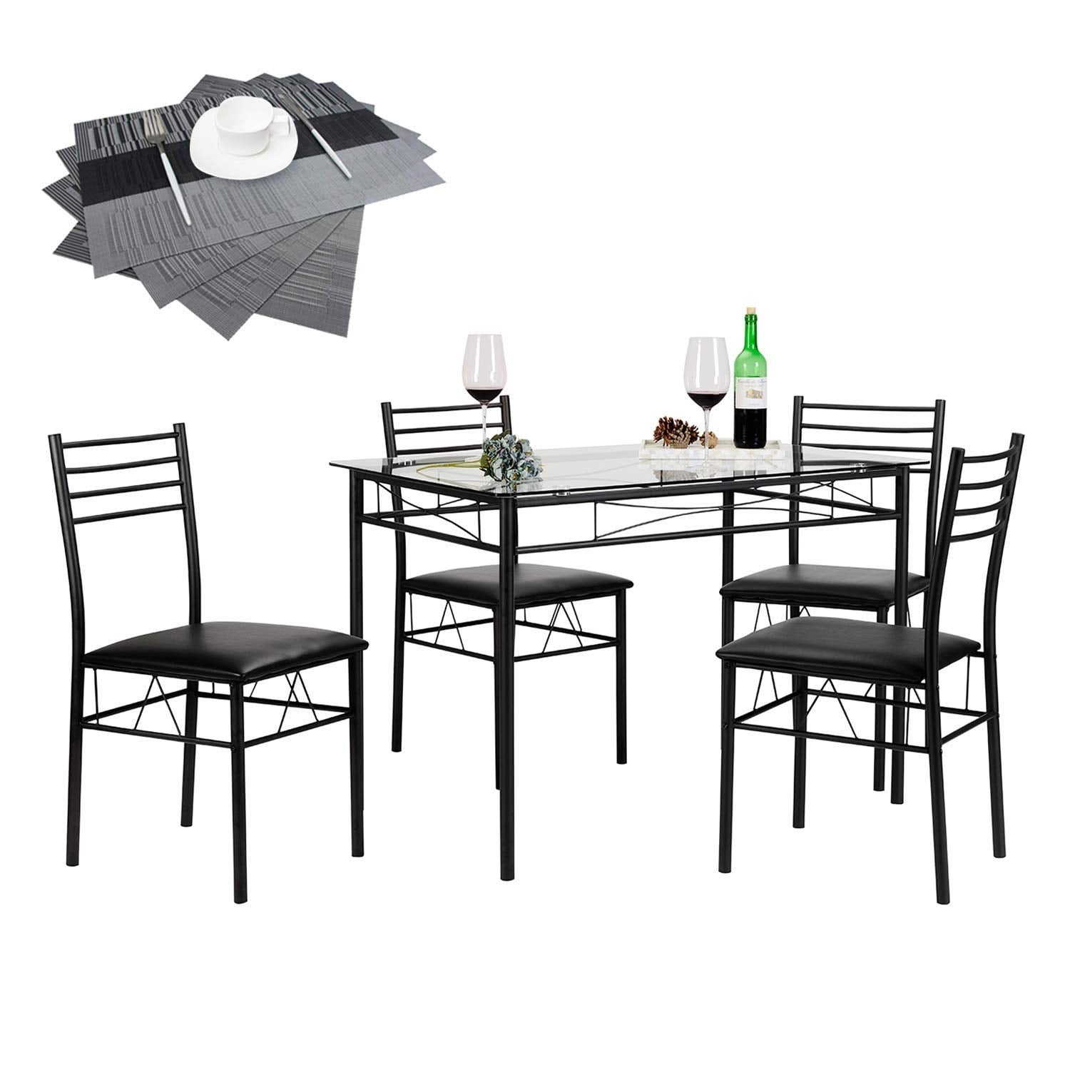 Vecelo Dining Table Set Gl With 4 Chairs Metal Kitchen Room Furniture 5 Pcs Black Free Shipping Today 13047157