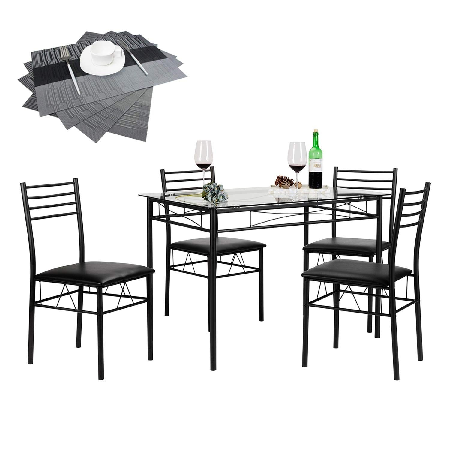 Vecelo Dining Table Sets Glass Table With 4 Chairs Metal Kitchen Room Furniture 5 Pcssilver Only
