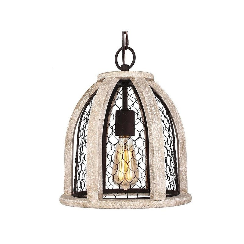 Distressed Antique White Chicken Wire Wood Pendant Chandelier - Free ...