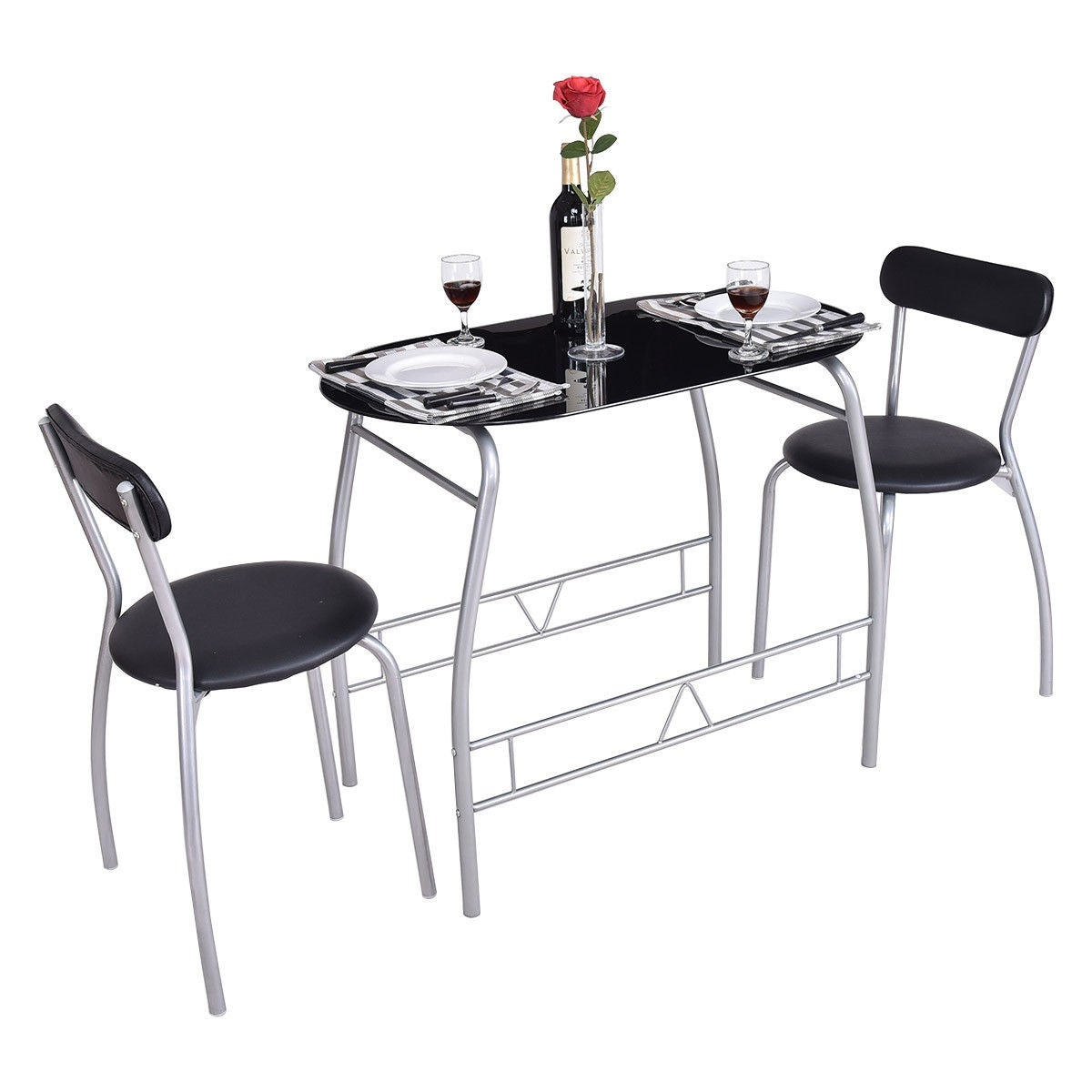 Shop Costway 3 PC Bistro Set Dining Room Breakfast Chairs Tempered ...