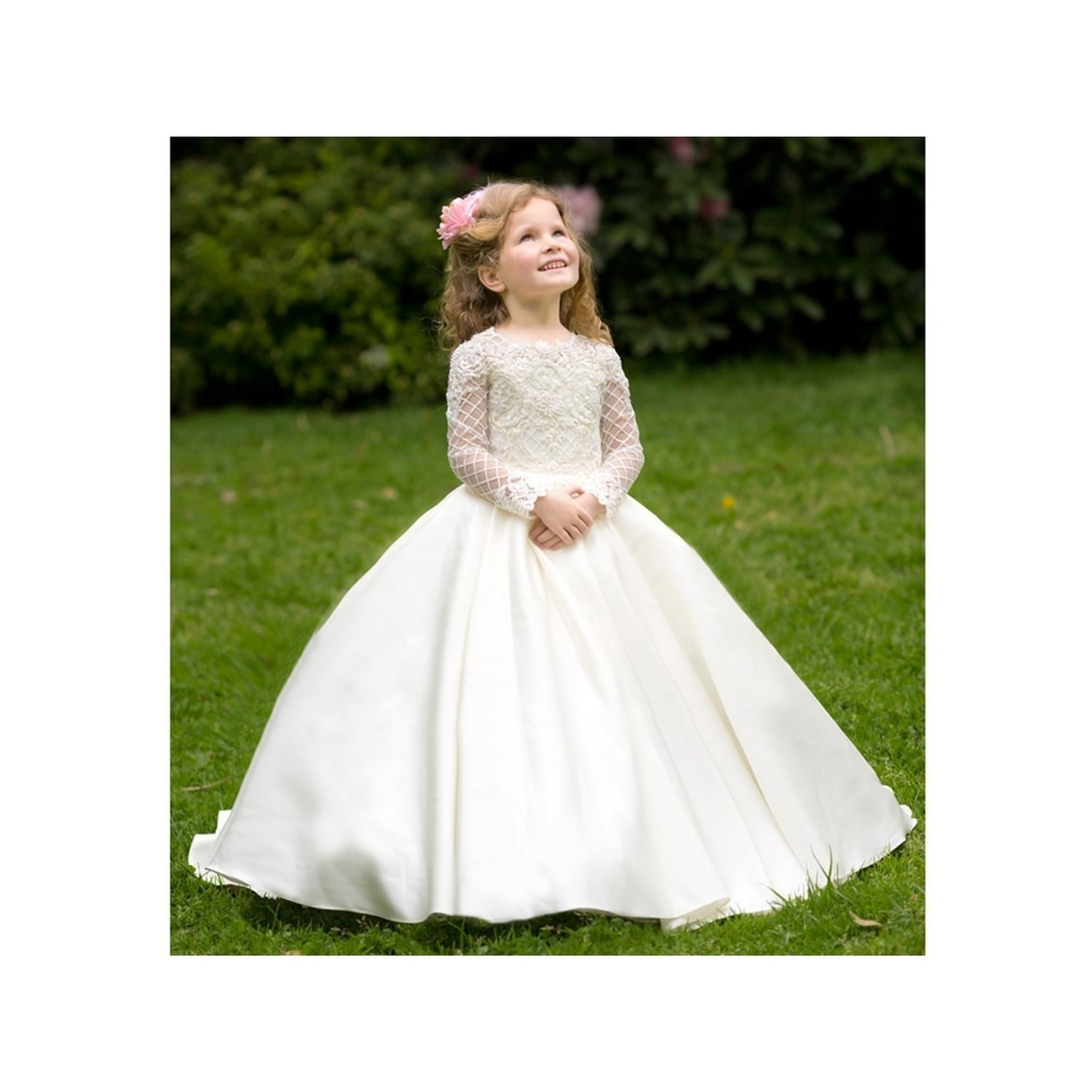 f83f4b1b862 Shop Girls Ivory White Pearl Adorned Helena Flower Girl Dress 7-10 - Free  Shipping Today - Overstock - 21804637