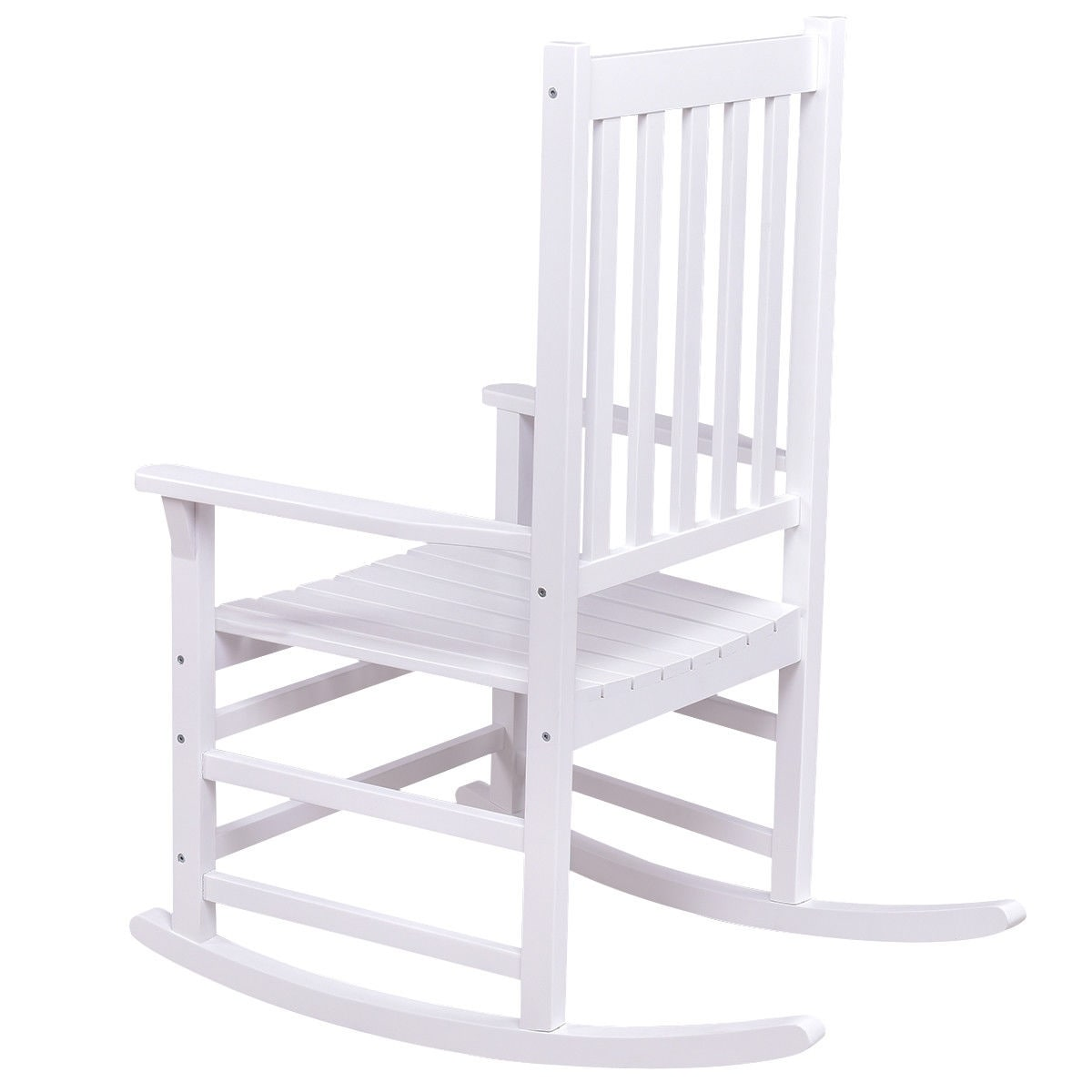 Shop Costway Solid Wood Rocking Chair Rocker Porch Indoor Outdoor Patio  Furniture White   Free Shipping Today   Overstock.com   21104145