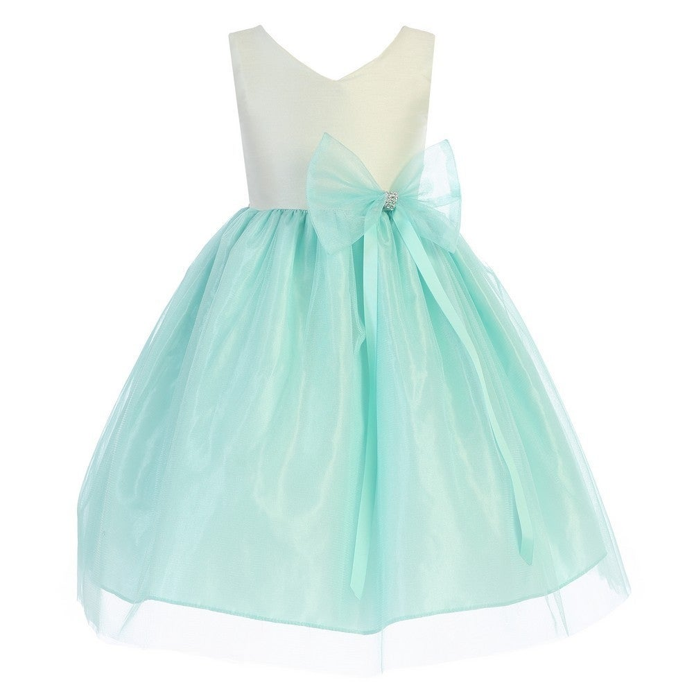 Little Girls Mint Dupion V-neck Tulle Taffeta Flower Girl Dress