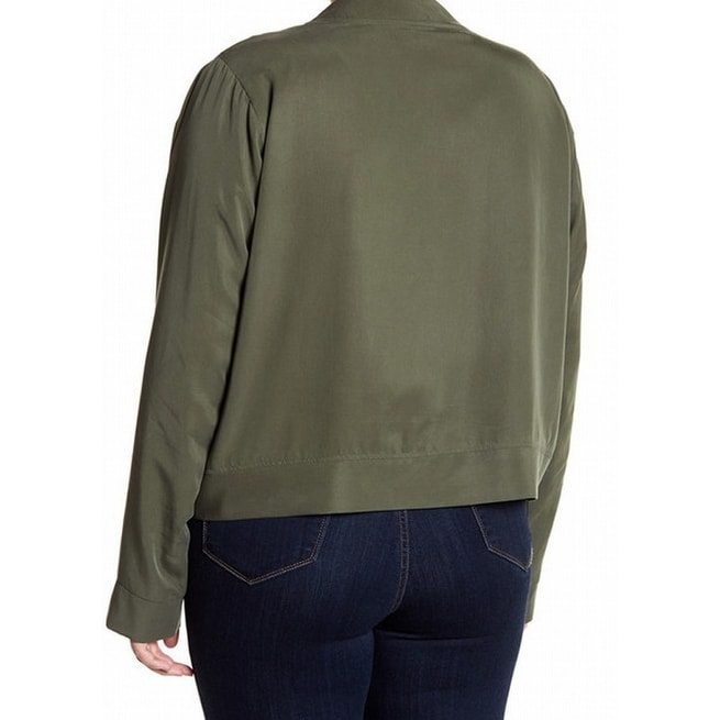 d29dfd2ab0e Shop 14th   Union NEW Olive Green Womens Size 1X Plus Full-Zip Bomber Jacket  - Free Shipping On Orders Over  45 - Overstock.com - 20739477