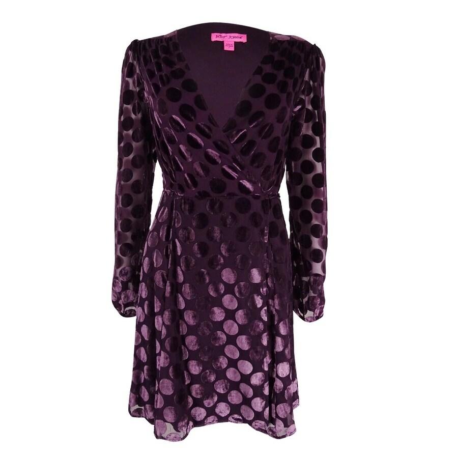 8848ee3d Shop Betsey Johnson Women's Velvet Dot-Print Wrap Dress - On Sale - Free  Shipping Today - Overstock.com - 18300800