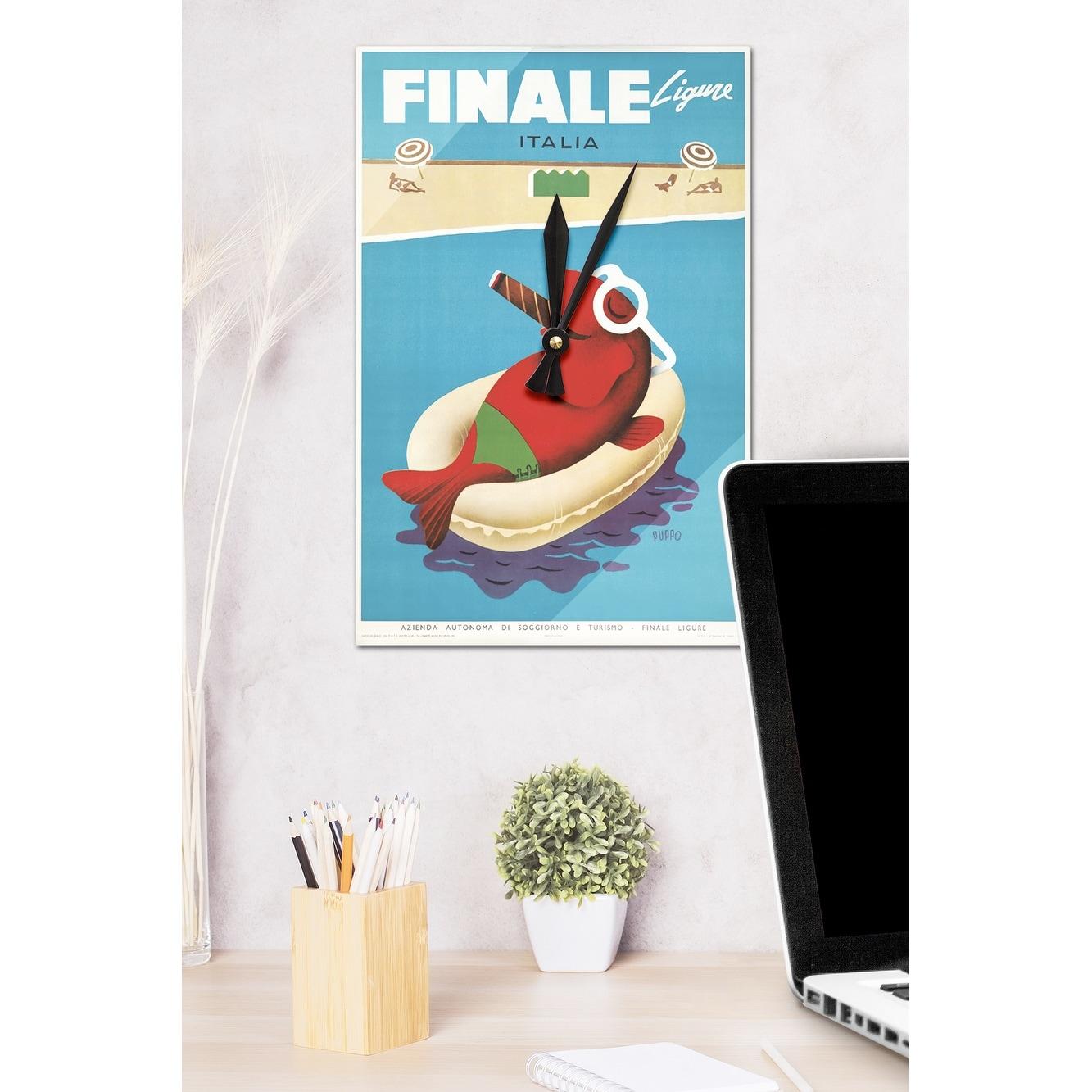 Finale Ligure (Puppo) c. 1950 - Vintage Poster (Acrylic Wall Clock ...